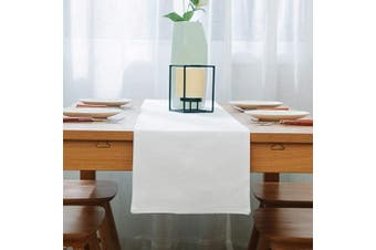 (Table Runner 30cm  x 270cm , Pure White) - NATUS WEAVER Soft Caddice Faux Linen Table Runner Cloth 2 Side for Kitchen Family Dinners or Gatherings, Indoor or Outdoor Parties, Everyday Use (12 x 108, Seats 8-10 People), Pure White