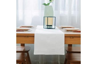 (Table Runner 30cm  x 180cm , Pure White) - NATUS WEAVER Soft Caddice Faux Linen Table Runner Cloth 2 Side for Kitchen Family Dinners or Gatherings, Indoor or Outdoor Parties, Everyday Use (12 x 72, Seats 4-6 People), Pure White