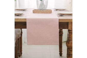 (Table Runner 30cm  x 90cm , Baby Pink) - NATUS WEAVER Dining Table Runner 2 Piece Fabric in 2.5cm Kitchen Room Dinner Wedding Birthday Party Burlap Rustic Table Runner, Baby Pink
