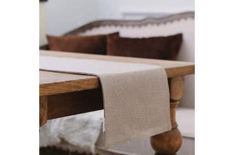 (Table Runner 30cm  x 270cm , Natural Linen) - NATUS WEAVER Soft Caddice Faux Linen Table Runner 2 Side for Family Dinners or Gatherings, Indoor or Outdoor Parties, Everyday Use (12 x 108, Seats 8-10 People), Natural Linen