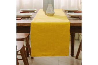 (Table Runner 30cm  x 120cm , Yellow) - NATUS WEAVER 2 Piece Fabric in 1 Dining Table Runner 30cm x 120cm Living Room Dinner Wedding Birthday Party Burlap Rustic Table Runner, Yellow