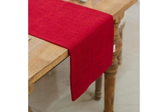 (Table Runner 30cm  x 270cm , Burgundy) - NATUS WEAVER Soft Caddice Faux Linen Table Runner 2 Side for Family Dinners or Gatherings, Indoor or Outdoor Parties, Everyday Use (12 x 108, Seats 8-10 People), Burgundy