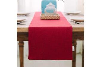 (Table Runner 30cm  x 90cm , Burgundy) - NATUS WEAVER Soft Caddice Faux Linen 2 Side Table Runner, eco-Friendly Fabric Handcrafted Runner, Burgundy 30cm x 90cm