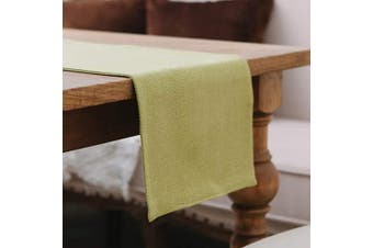 (Table Runner 30cm  x 270cm , Green) - NATUS WEAVER Soft Caddice Faux Linen Table Runner 2 Side for Family Dinners or Gatherings, Indoor or Outdoor Parties, Everyday Use (12 x 108, Seats 8-10 People), Green