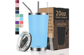 (590ml, Blue) - Umite Chef 590ml Tumbler Double Wall Stainless Steel Vacuum Insulated Travel Mug with Lid, Insulated Coffee Cup, 2 Straws, for Home, Outdoor, Office, School, Ice Drink, Hot Beverage (590ml, Blue)