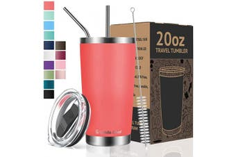 (590ml, Coral Orange) - Umite Chef Tumbler Double Wall Stainless Steel Vacuum Insulated Travel Mug with Lid, Insulated Coffee Cup, 2 Straws, for Home, Outdoor, Office, School, Ice Drink, Hot Beverage (Coral Orange, 590ml)