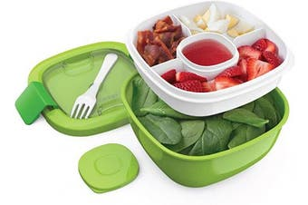 Bentgo Salad BPA-Free Lunch Container with Large 1600ml Salad Bowl, 3-Compartment Bento-Style Tray for Salad Toppings and Snacks, 90ml Sauce Container for Dressings, and Built-In Reusable Fork (Green)