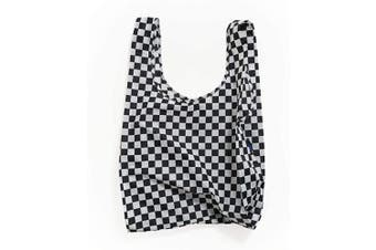 (Black Checkerboard) - BAGGU Standard Reusable Shopping Bag, Ripstop Nylon Grocery Tote or Lunch Bag, Black Checkerboard