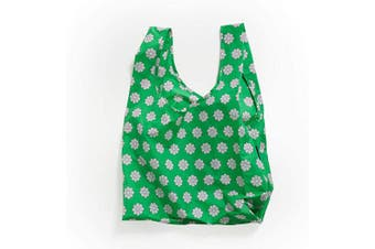(Green Daisy) - BAGGU Standard Reusable Shopping Bag, Ripstop Nylon Grocery Tote or Lunch Bag, Green Daisy