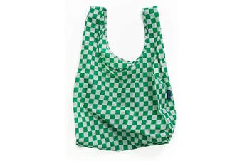 (Green Checkerboard) - BAGGU Standard Reusable Shopping Bag, Ripstop Nylon Grocery Tote or Lunch Bag, Green Checkerboard