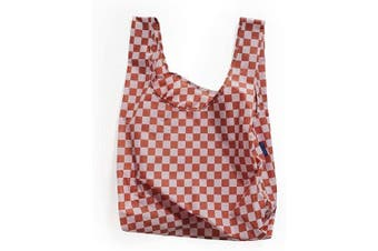(Rose Checkerboard) - BAGGU Standard Reusable Shopping Bag, Ripstop Nylon Grocery Tote or Lunch Bag, Rose Checkerboard