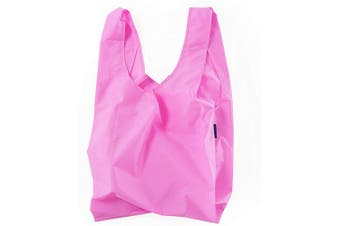 (Bright Pink) - BAGGU Standard Reusable Shopping Bag, Ripstop Nylon Grocery Tote or Lunch Bag, Bright Pink
