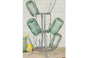 Wine Bottle / Beer Bottle Holder Drying Rack - Vintage Grey - 16 Piece Capacity