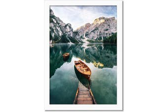 (12x18, White) - Americanflat Poster Frame in White with Shatter Resistant Glass - Horizontal and Vertical Formats - Wall Mounted - 30cm x 46cm