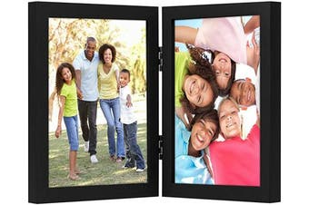 (8x10, Black) - Americanflat Hinged Picture Frame in Black MDF with Two Displays in Shatter Resistant Glass for Tabletop - 20cm x 25cm