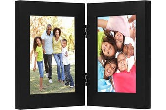 (4x6, Black) - Americanflat 10cm x 15cm Hinged Picture Frame with Glass Front - Made to Display 2 10cm x 15cm Pictures, Stands Vertically on Desktop or Table Top