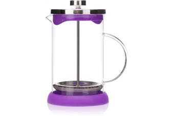 COM-FOUR® Coffee Maker with French-Press System - Coffee Press Also Serves as a Tea Maker - Coffee Brewer with Glass Cylinder (01 Pieces - Coffee Maker 800ml / Purple)