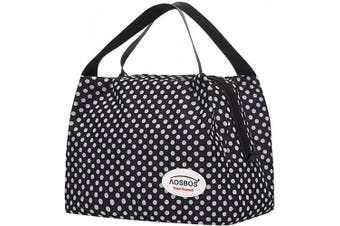 (Polka Dots) - Aosbos Recycled Insulated Lunch Box Tote Cooler Bag (Polka Dots)