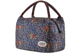 (Bohemia Elephant) - Aosbos Recycled Insulated Lunch Box Tote Cooler Bag (Bohemia Elephant)