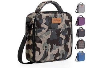 (Camouflage Color) - buringer-HOMESPON Reusable Lunch Bag Insulated Lunch Box Bento Cooler Tote with Front Pocket and Removable Adjuatable Shoulder Strap for Woman/Man/School/Office(Camouflage Colour)
