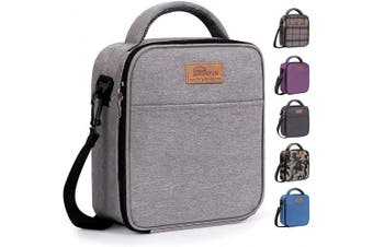 (Gray) - buringer-HOMESPON Reusable Lunch Bag Insulated Lunch Box Bento Cooler Tote with Front Pocket and Removable Adjuatable Shoulder Strap for Woman/Man/School/Office(Grey)