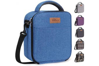 (Blue) - buringer-HOMESPON Reusable Lunch Bag Insulated Lunch Box Bento Cooler Tote with Front Pocket and Removable Adjuatable Shoulder Strap for Woman/Man/School/Office(Blue)
