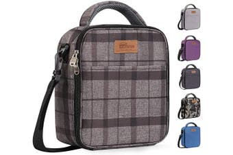 (Grey Plaid) - buringer-HOMESPON Reusable Lunch Bag Insulated Lunch Box Bento Cooler Tote with Front Pocket and Removable Adjuatable Shoulder Strap for Woman/Man/School/Office(Grey Plaid)