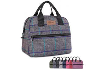 (Large Grey Plaid) - buringer-HOMESPON Insulated Lunch Bag Lunch Box Cooler Tote Box Cooler Bag Lunch Container for Women/Men/Work/Picnic (Large Grey Plaid)