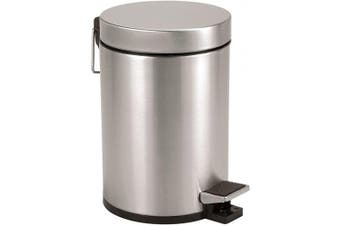 Axentia Cosmetic Pedal Bin Stainless Steel Matt Brushed & 3 L Pedal Bin Cosmetic Waste Bin Dustbin with Lid with Foot Pedal Bin for Bathroom and WC Silver/Black, 17 x 17 x 25 cm