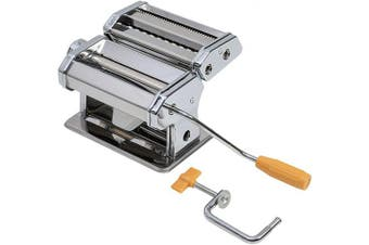 axentia Pasta Machine Fresh Pasta Lasagne Spaghetti Tagliatelle Maker, 9 Adjustable Thickness Settings, Chrome-plated Pasta Roller Cutter with Table Top Clamp and Crank, Professional Kitchen Set, Silver
