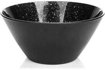 """(01 Piece - """"City at Night"""") - com-four® fruit bowl, decorative black glass bowl for fruit, snacks and more, unique, salad bowl design City at Night (01 piece - City at Night)"""