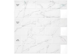 Morcart Peel and Stick Backsplash, Subway Tiles Back Splashes Wall Tiles for Kitchen Backsplashes (30cm x 30cm 5 Sheets, White Marble)