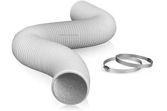 """(6"""" X 8 FT (WHITE)) - TerraBloom 15cm Air Duct - 2.4m Long, White Flexible Ducting with 2 Clamps, 4 Layer HVAC Ventilation Air Hose - Great for Grow Tents, Dryer Rooms, House Vent Register Lines"""