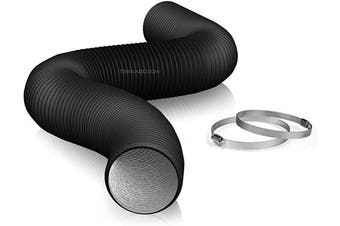 """(4"""" X 8 FT (BLACK)) - 10cm Air Duct - 2.4m Long, Black Flexible Ducting with 2 Clamps, 4 Layer HVAC Ventilation Air Hose - Great for Grow Tents, Green Houses, House Vent Register Lines"""