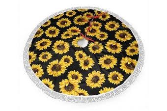 (120cm , Sunflowers) - AHOOCUSTOM Christmas Tree Skirt Sunflowers Tree Mat with Tassel Xmas Tree Ornament Christmas Decoration Accessory 120cm