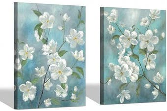 (60cm  x 46cm x 2 panels, Floral Blossom) - Flowers Canvas Painting Wall Art: White Floral Blossom of Spring Artwork Painting Picture on Canvas for Living Rooms (60cm x 46cm x 2 Panels)