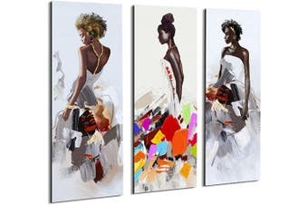 (30cm  x 90cm , Set of Abc) - Artinme Framed African American Black Art Dancing Black Women in Dress Wall Art Painting on Canvas Print Wall Picture for Home Accent Living Room Wall Decor (30cm x 90cm , Set of 3)