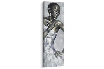 (30cm  x 90cm , J) - Artinme Framed African American Black Art Dancing Black Women in Dress Wall Art Painting on Canvas Print Wall Picture for Home Accent Living Room Wall Decor (30cm x 90cm , J)