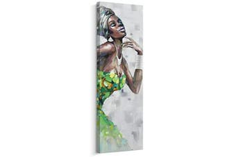 (30cm  x 90cm , D) - Artinme Framed African American Black Art Dancing Black Women in Dress Wall Art Painting on Canvas Print Wall Picture for Home Accent Living Room Wall Decor (30cm x 90cm , D)