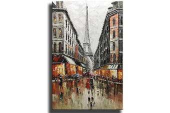 (24*36 inch(60*90cm), Asd096) - Asdam Art Paintings,Hand-Painted Eiffel Tower Canvas Wall Art Abstract Couple Painting Vertical Paris Artwork for Home Wall Framed 60cm x 90cm