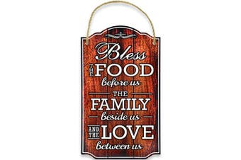 (Brown) - Bigtime Signs Bless Our Family Food Love - Heart Warming Quote - Strong PVC with Rope for Hanging - Country, Rustic House, Kitchen, Dining Wall Decor - Housewarming, Home Gifts - 22cm x 37cm (Brown)