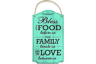 (Teal) - Bigtime Signs Bless Our Family Food Love - Heart Warming Quote - Strong PVC with Rope for Hanging - Country, Rustic House, Kitchen, Dining Wall Decor - Housewarming, Home Gifts - 22cm x 37cm (Teal)