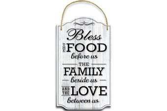 (White) - Bigtime Signs Bless Our Family Food Love - Heart Warming Quote - Strong PVC with Rope for Hanging - Country, Rustic House, Kitchen, Dining Wall Decor - Housewarming, Home Gifts - 22cm x 37cm (White)