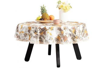 (140cm R, Yellow) - Nobildonna 140cm Round Tablecloth Elegance Dining Table Cover Easy Care Polyester Luxurious Print Holiday Dinner Party Tablecloths Flower Leaves Pattern (Orange)