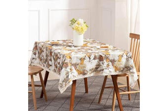 (140cm  x 180cm , Yellow) - Nobildonna 140cm x 180cm Tablecloth Elegance Dining Table Cover Easy Care Polyester Luxurious Print Holiday Dinner Party Tablecloths Flower Leaves Pattern (Orange)
