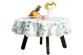 (140cm R, Green) - Nobildonna 140cm Round Tablecloth Elegance Dining Table Cover Easy Care Polyester Luxurious Print Holiday Dinner Party Tablecloths Flower Leaves Pattern (Blue)