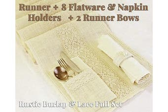 (Pattern 2 - Cream Color) - Full Set Rustic Table Runner with 8 Flatware Holders, 8 Napkin Holders and 2 Table Bows - Hessian Burlap Jute and Lace - 30cm X 270cm (2.7m Long) - Rustic Table Decor (Pattern 2 - Cream Colour)