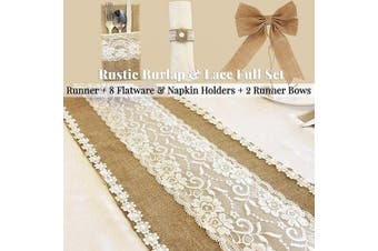 (Pattern 3 - Natural Color) - Full Set Rustic Table Runner with 8 Flatware Holders, 8 Napkin Holders and 2 Table Bows - Hessian Burlap Jute and Lace - 30cm X 270cm (2.7m Long) - Rustic Table Decor (Pattern 3 - Natural Colour)