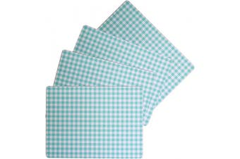 (Calvin Gingham Check Placemat Turquoise/Aqua Blue) - Benson Mills Cork Placemats (Calvin Gingham Cheque Placemat Turquoise/Aqua Blue, 30cm X 41cm Rectangular Set of 4)