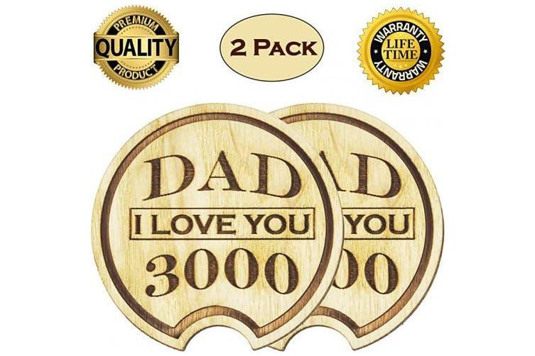 Dad I Love You Navady Dad I Love You 3000 Wood Car Coasters 7 3cm Diameter